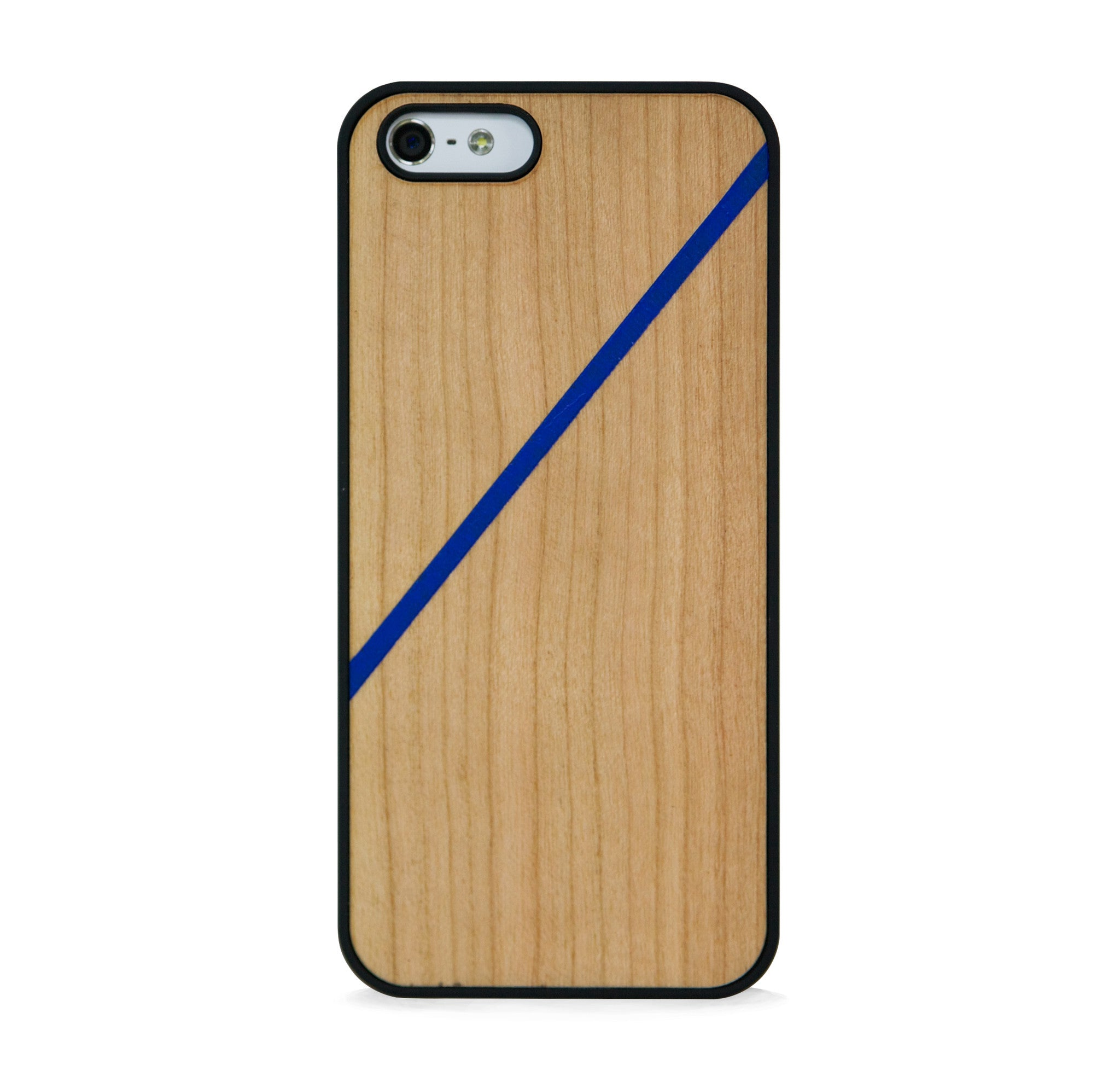 *WOOD CASE LINE COLOR BLOCK ROYAL BLUE FOR IPHONE 5/5s, IPHONE SE