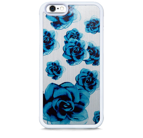 BLUE FLOWERS ON BRUSHED SILVER FOR IPHONE 6/6S PLUS
