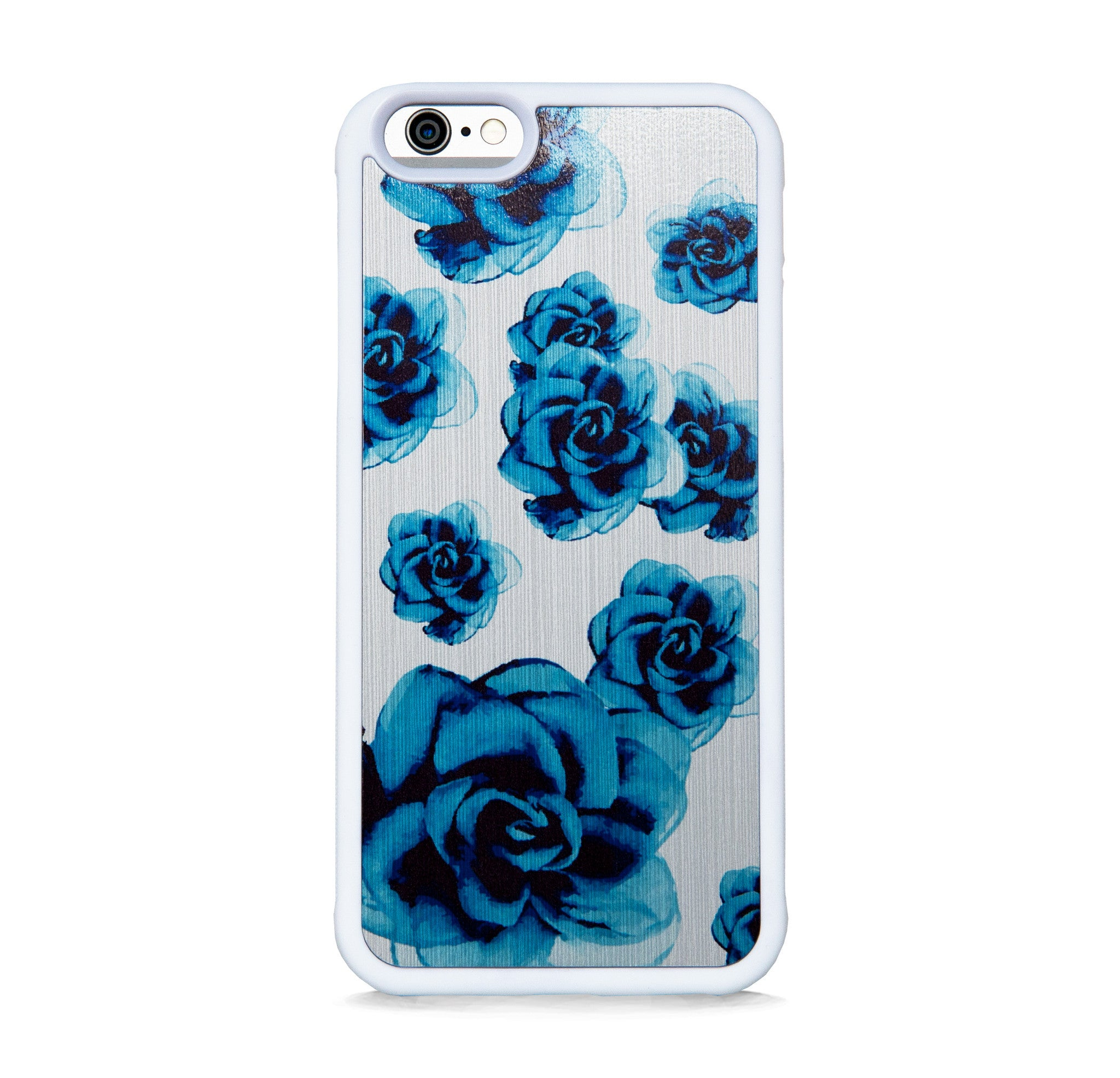BLUE FLOWERS ON BRUSHED SILVER FOR IPHONE 6/6s