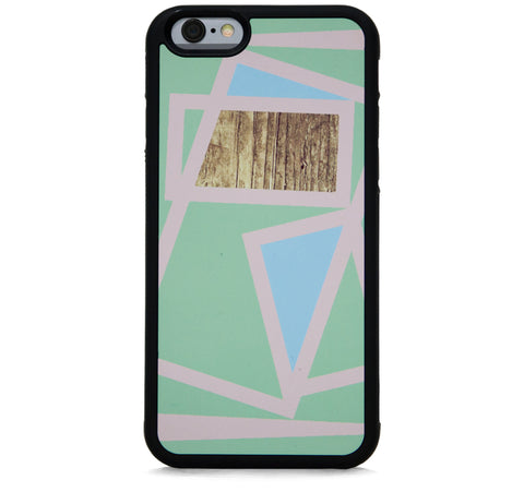 COLOR BLOCK LINE SQ WOOD ON MINT FOR IPHONE 6/6S PLUS