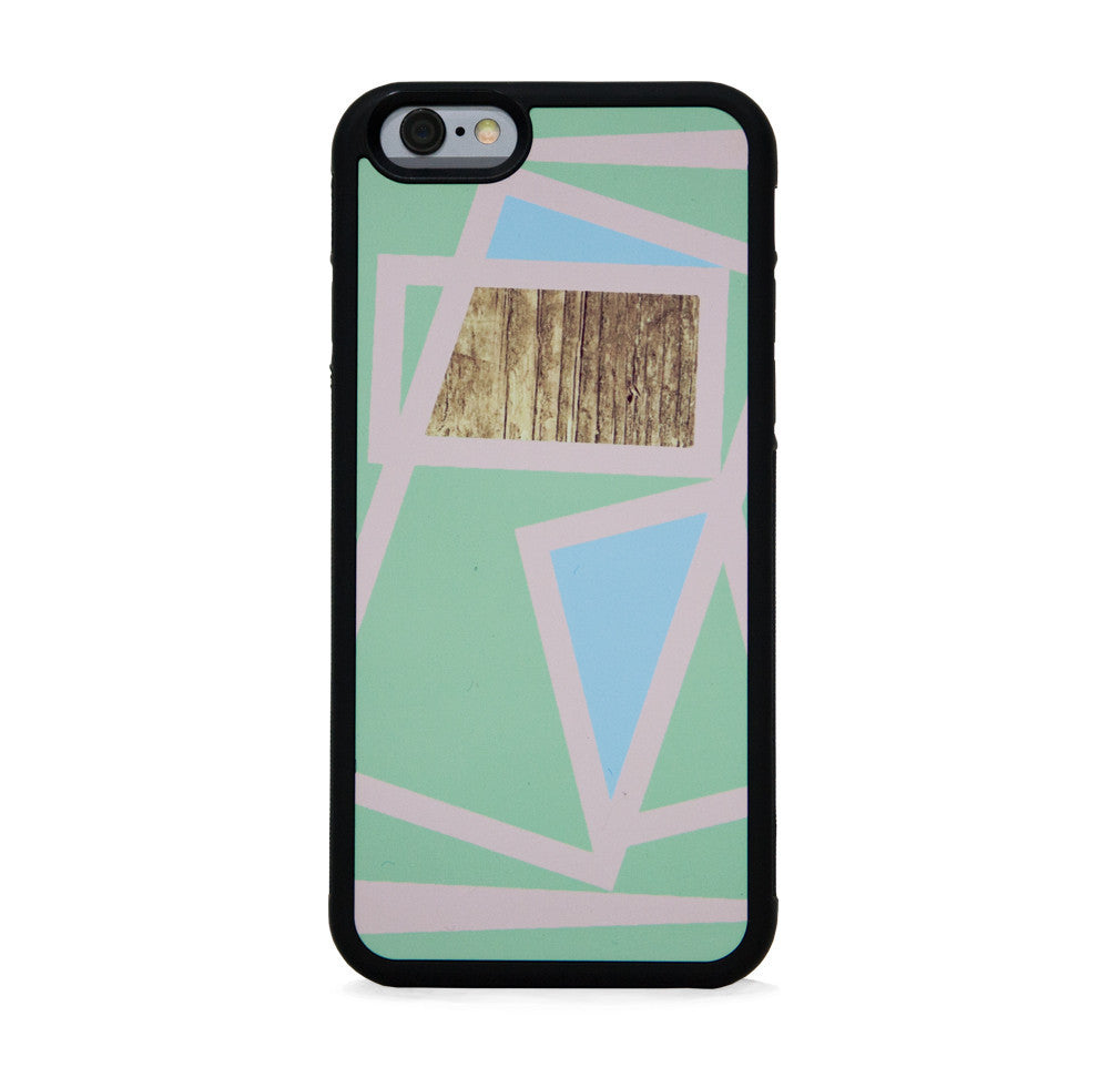 COLOR BLOCK LINE SQ WOOD ON MINT FOR IPHONE 6/6s