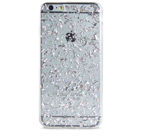 IPHONE 6/6s PLUS SILVER FRAGMENTS EFFECT RUBBER CASE