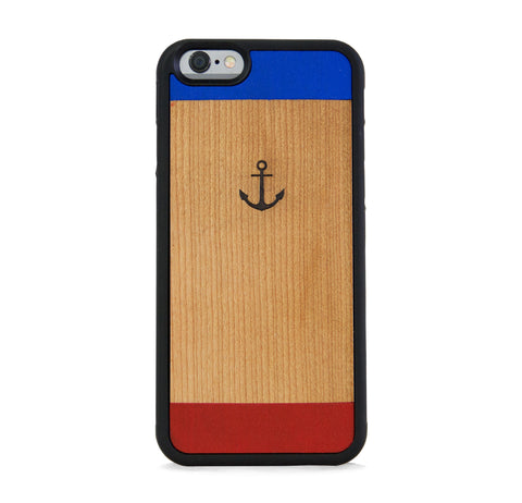*WOOD CASE COLOR BLOCK ANCHOR FOR IPHONE 6/6s