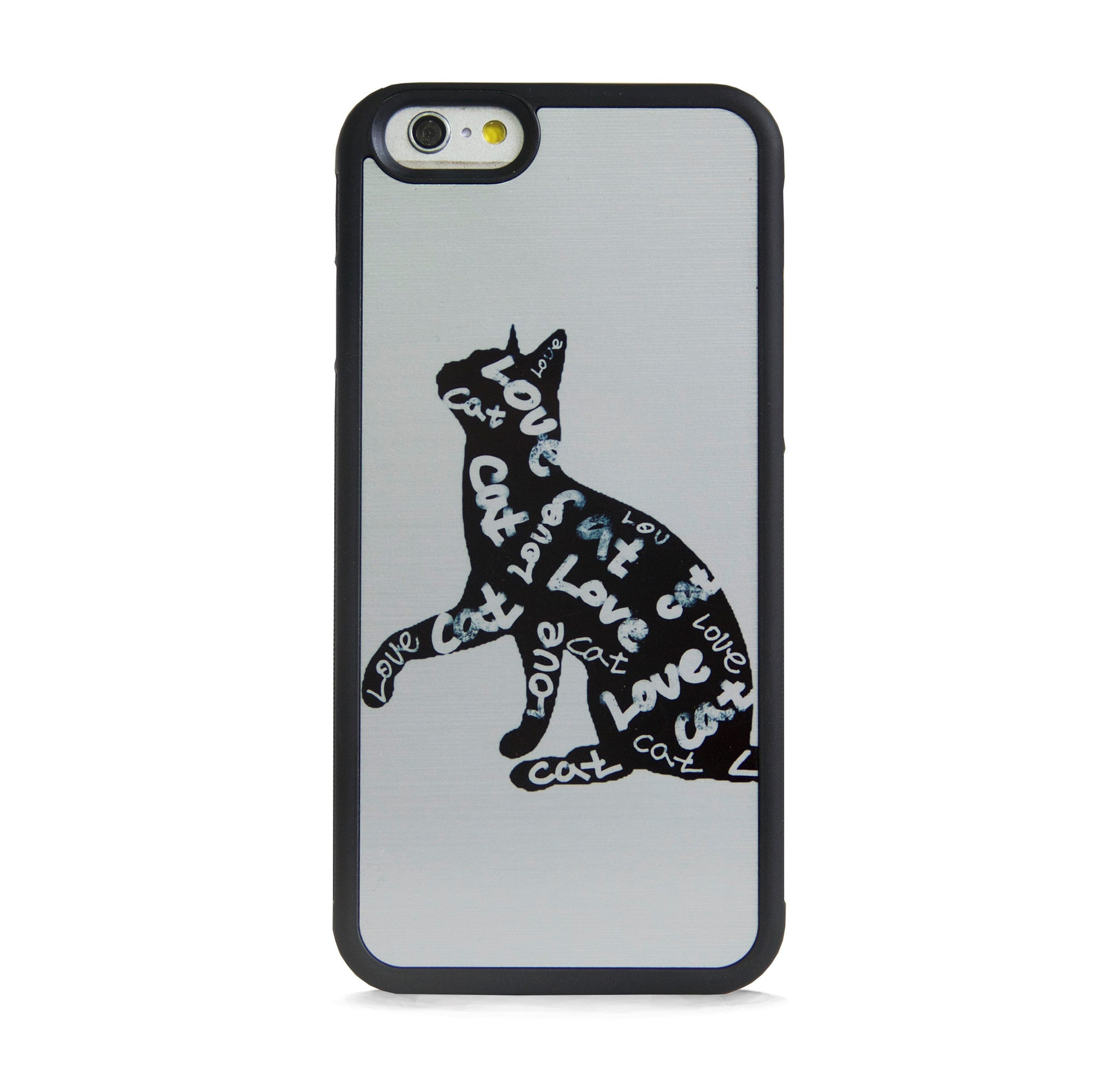 ILLUST TYPO LOVE CATS ON SILVER FOR IPHONE 6/6s