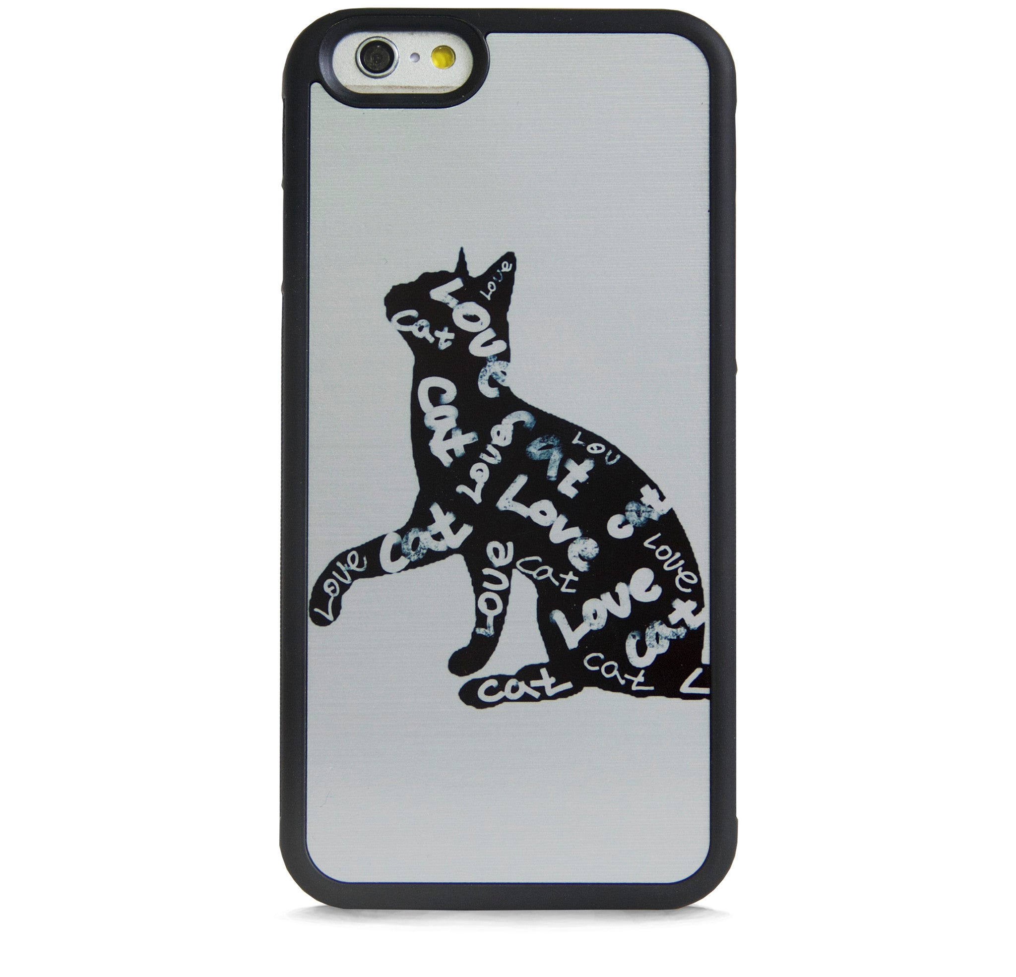 ILLUST TYPO LOVE CATS ON SILVER FOR IPHONE 6/6s PLUS
