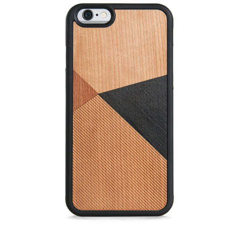 *WOOD CASE COLOR BLOCK BLACK FOR IPHONE 6/6S PLUS