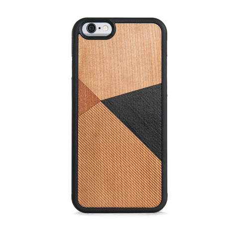 *WOOD CASE COLOR BLOCK BLACK FOR IPHONE 6/6s