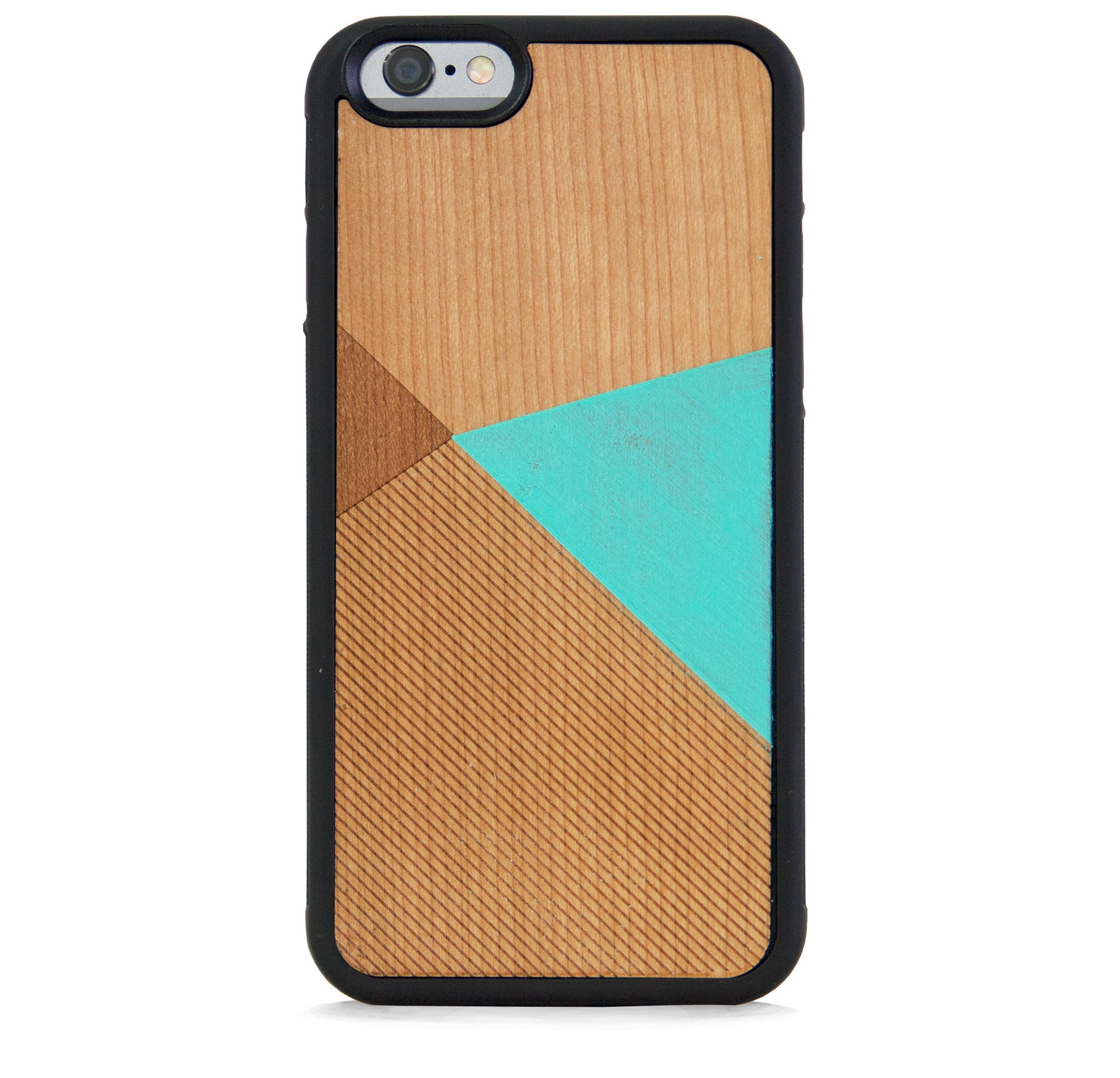 *WOOD CASE COLOR BLOCK MINT FOR IPHONE 6/6S PLUS