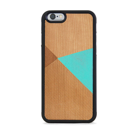 *WOOD CASE COLOR BLOCK MINT FOR IPHONE 6/6s