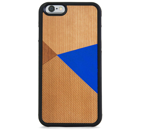 *WOOD CASE COLOR BLOCK ROYAL BLUE FOR IPHONE 6/6S PLUS