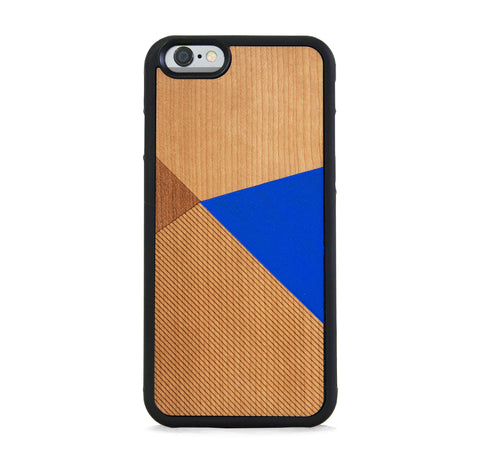 *WOOD CASE COLOR BLOCK ROYAL BLUE FOR IPHONE 6/6s