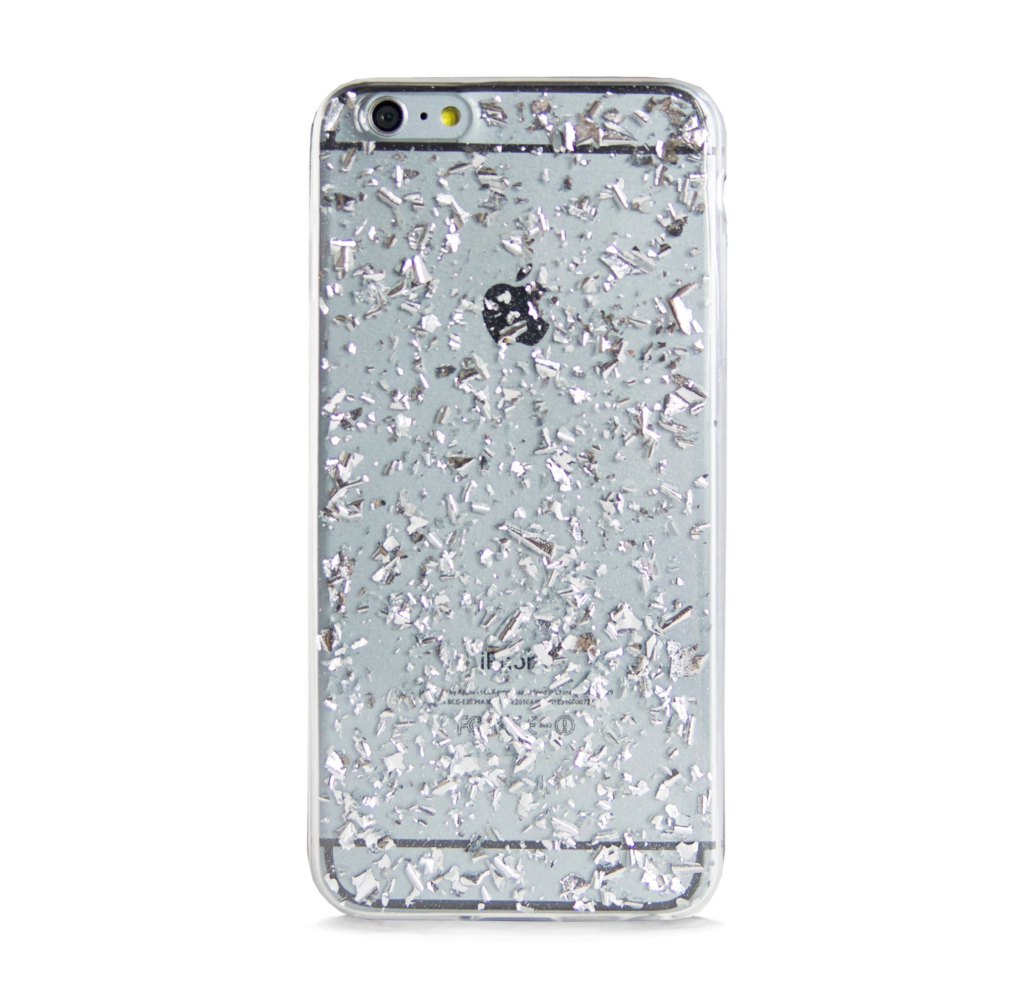 IPHONE 6/6s SILVER FRAGMENTS EFFECT RUBBER CASE