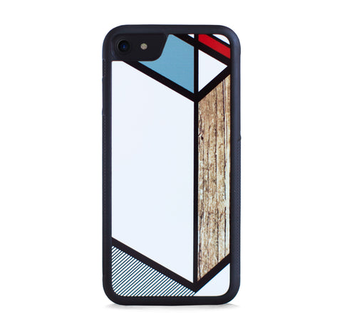 DIAGONAL LINE COLOR BLOCK GREY WOOD FOR IPHONE 7