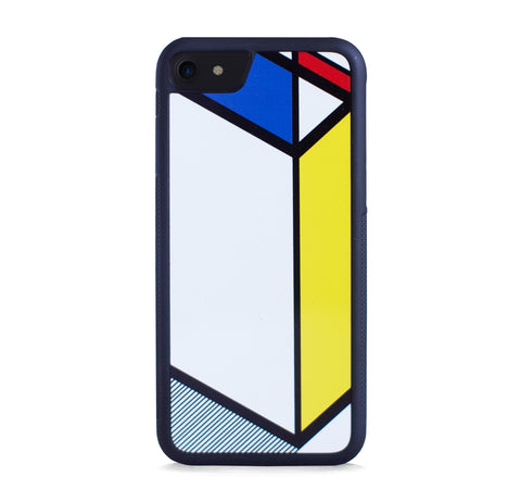 DIAGONAL LINE COLOR BLOCK BLUE YELLOW FOR IPHONE 7