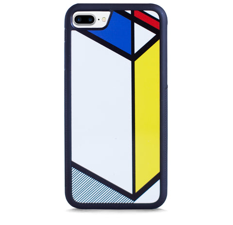 DIAGONAL LINE COLOR BLOCK BLUE YELLOW FOR IPHONE 7 PLUS