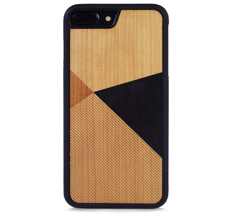 *WOOD CASE COLOR BLOCK BLACK FOR IPHONE 7 PLUS