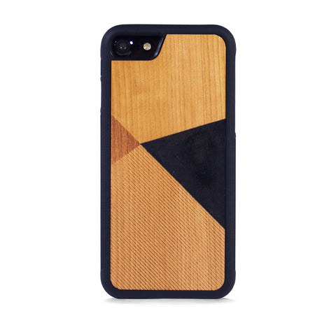 *WOOD CASE COLOR BLOCK BLACK FOR IPHONE 7