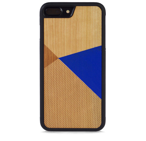 *WOOD CASE COLOR BLOCK ROYAL BLUE FOR IPHONE 7 PLUS