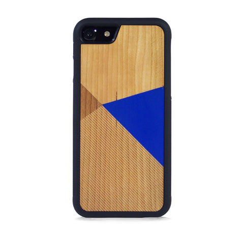 *WOOD CASE COLOR BLOCK ROYAL BLUE FOR IPHONE 7