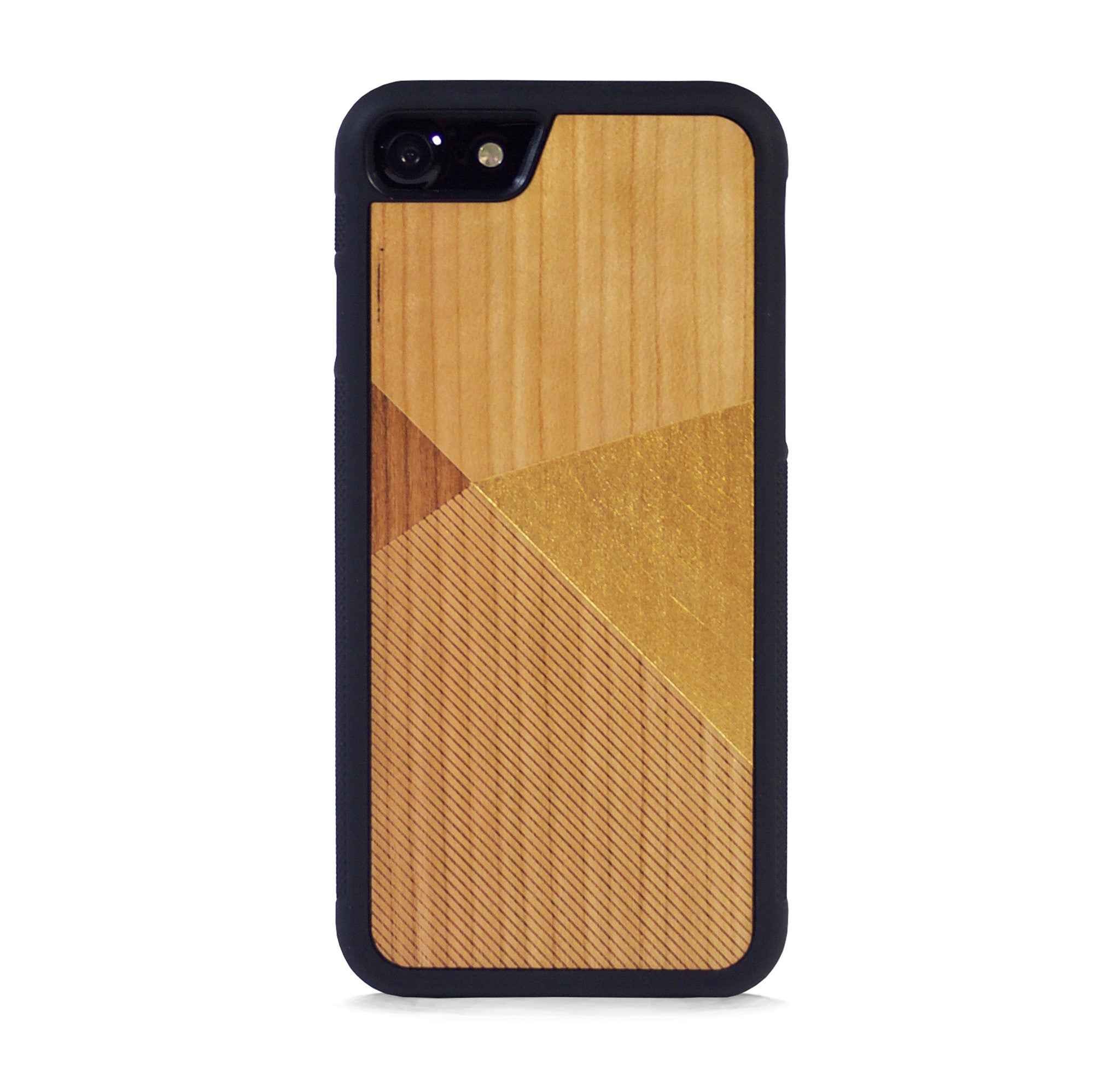 *WOOD CASE COLOR BLOCK GOLD FOR IPHONE 7