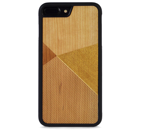*WOOD CASE COLOR BLOCK GOLD FOR IPHONE 7 PLUS