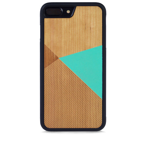 *WOOD CASE COLOR BLOCK MINT FOR IPHONE 7 PLUS