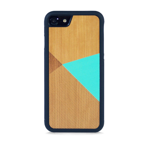 *WOOD CASE COLOR BLOCK MINT FOR IPHONE 7
