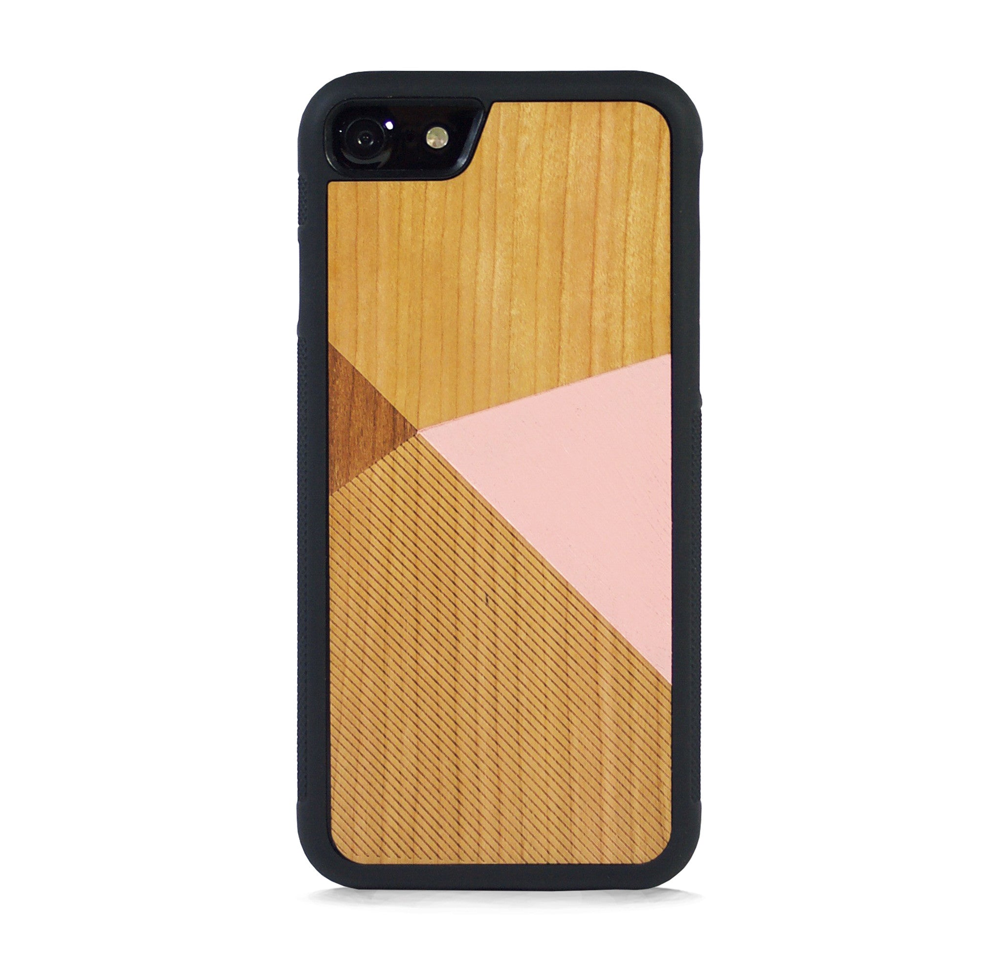 *WOOD CASE COLOR BLOCK BABY PINK FOR IPHONE 7