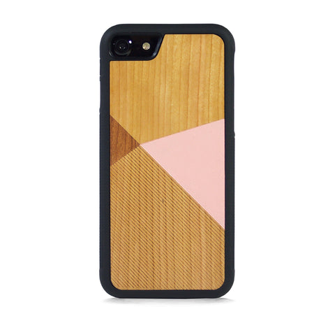 *WOOD CASE COLOR BLOCK BABY PINK FOR IPHONE 8