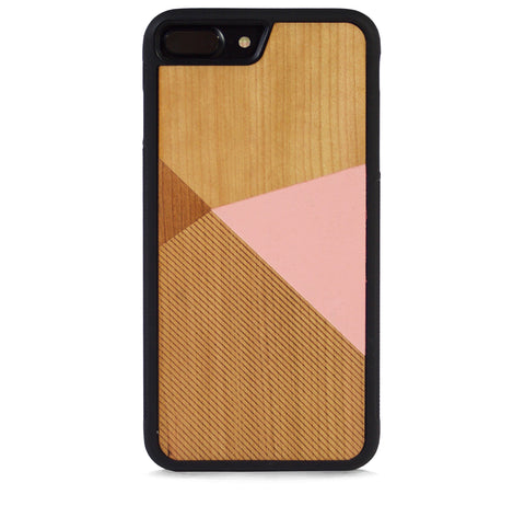*WOOD CASE COLOR BLOCK BABY PINK FOR IPHONE 7 PLUS