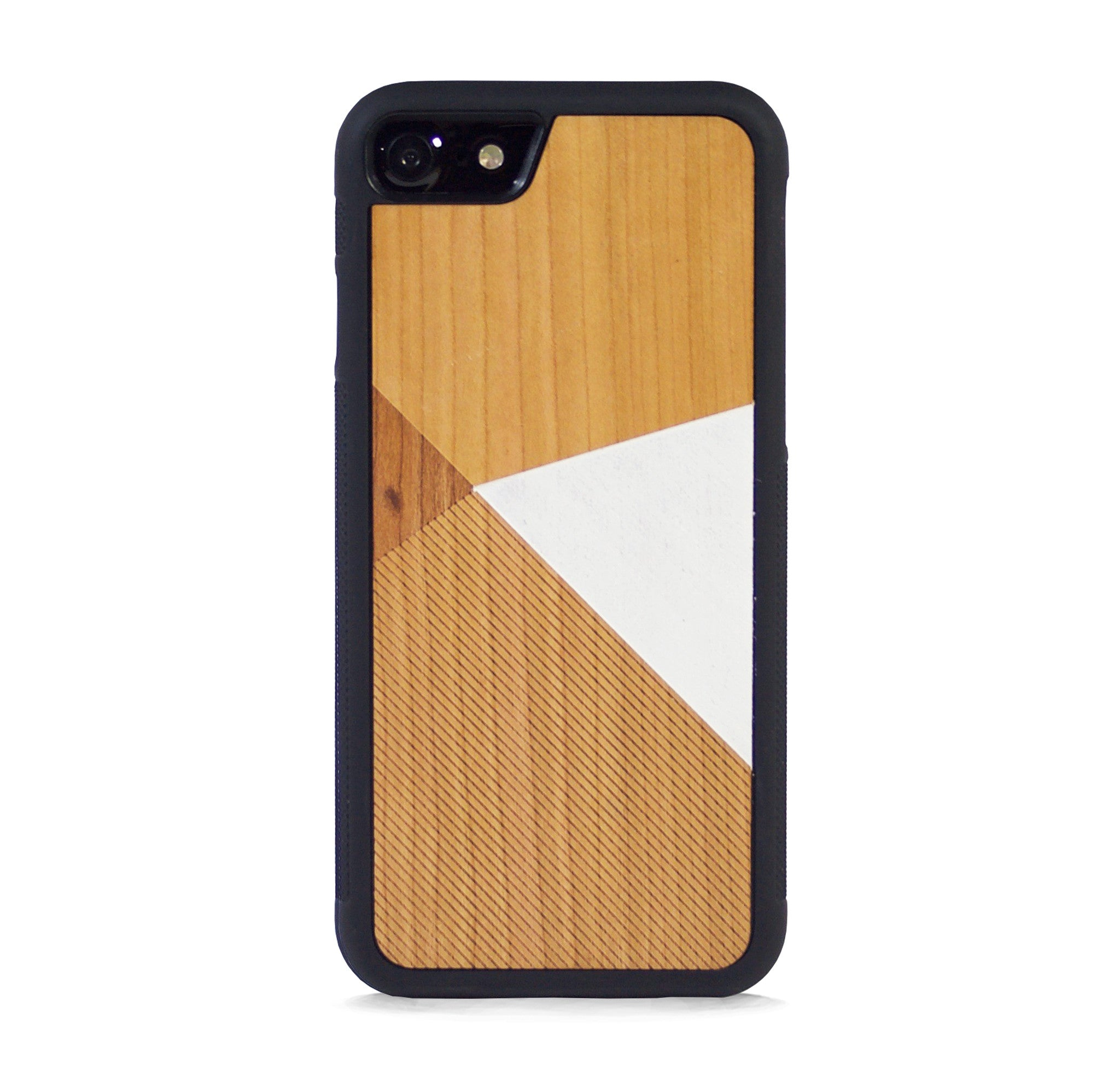 *WOOD CASE COLOR BLOCK WHITE FOR IPHONE 7