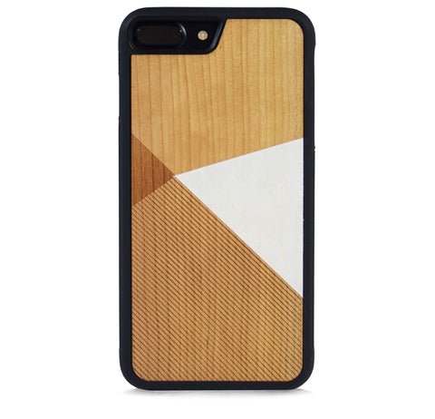 *WOOD CASE COLOR BLOCK WHITE FOR IPHONE 7 PLUS