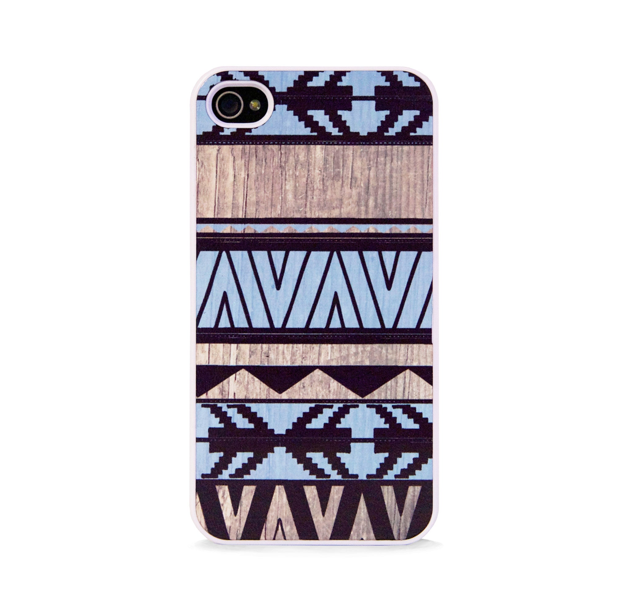 AZTEC GEO BLUE WOOD FOR IPHONE 4/4S