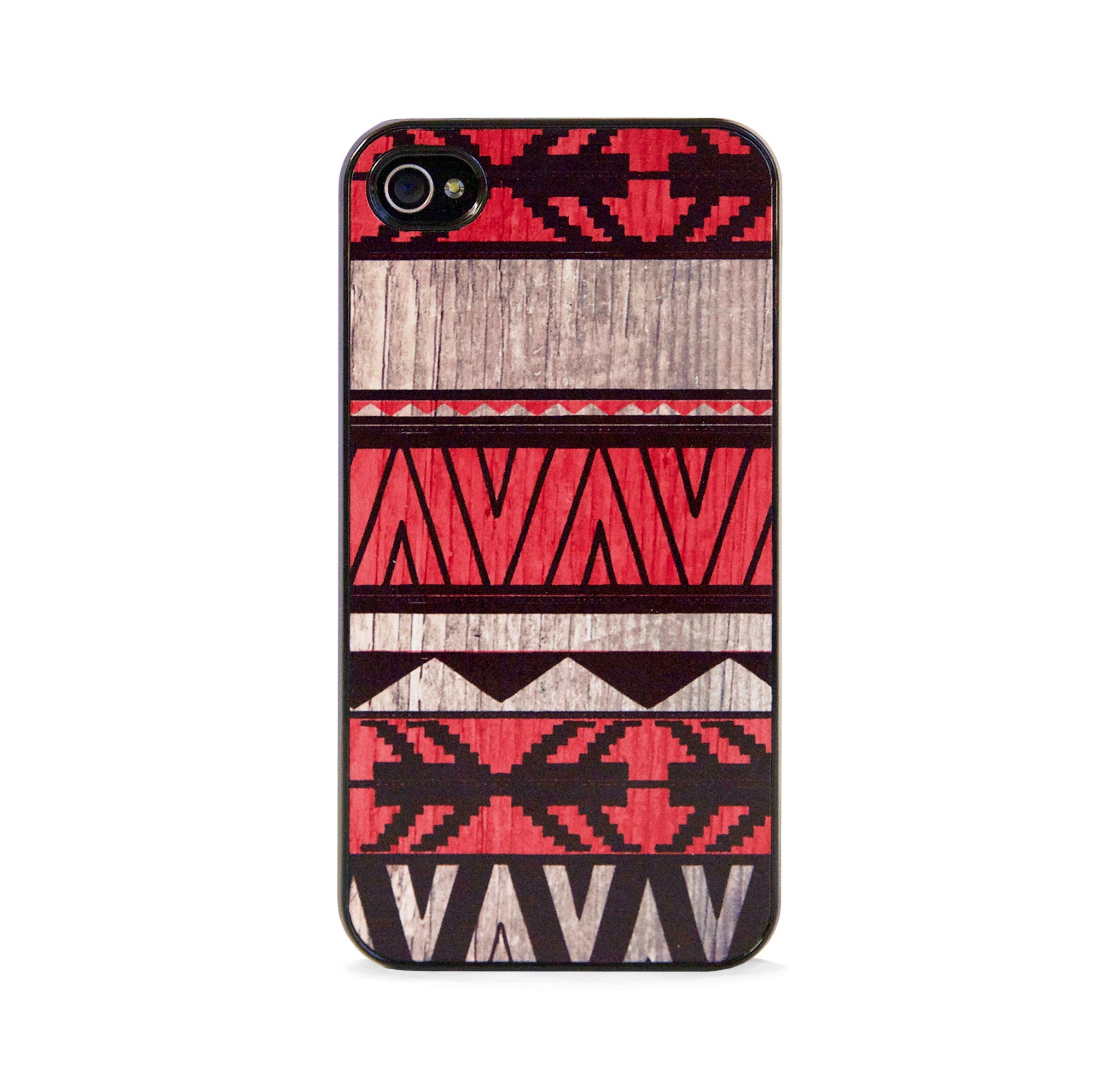 AZTEC GEO RED WOOD FOR IPHONE 4/4S