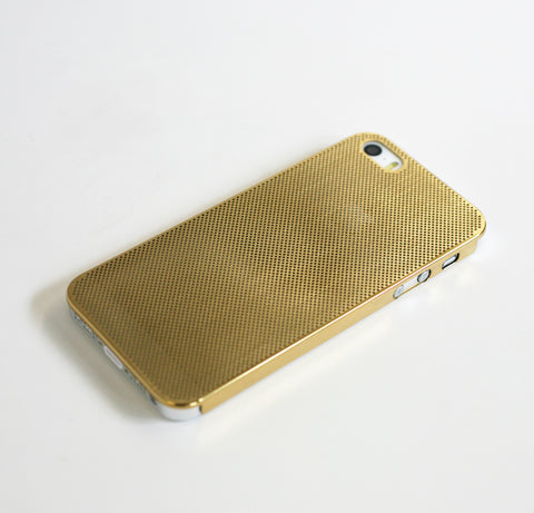 GOLD ULTRA THIN MESH METAL CASE FOR iPhone 5 & iPhone 5s