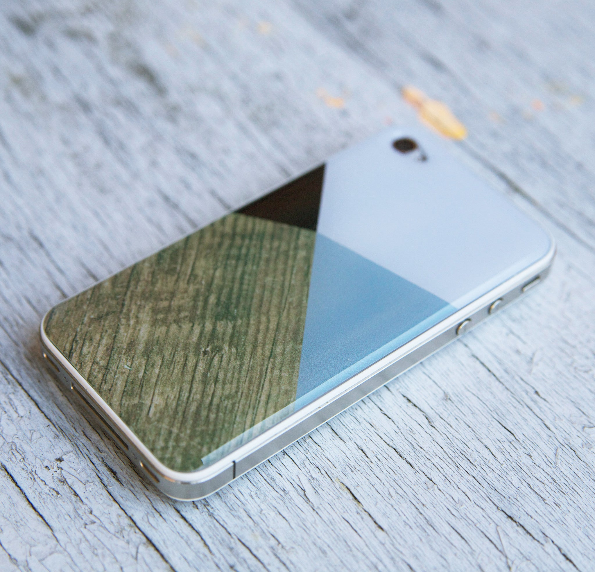 COLOR BLOCK GEO 3D GEL SKIN WOOD FOR IPHONE 4/4S