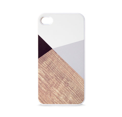 COLOR BLOCK GEO GREY WOOD FOR IPHONE 4/4S