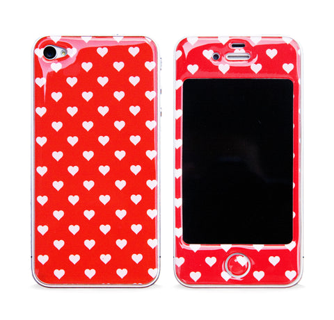 POLKA HEART RED 3D GEL SKIN FOR IPHONE 4/4S