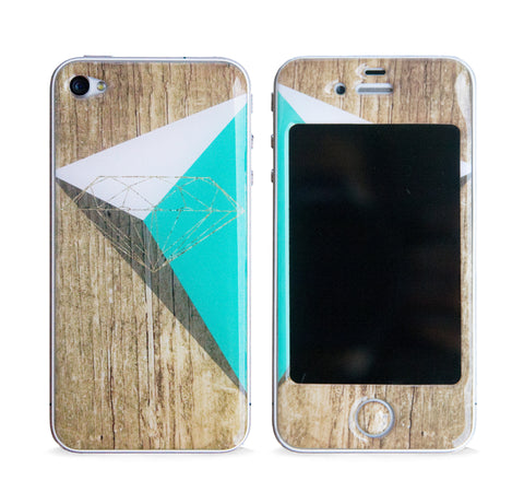 DIAMOND TRI WOOD 3D GEL SKIN FOR IPHONE 4/4S