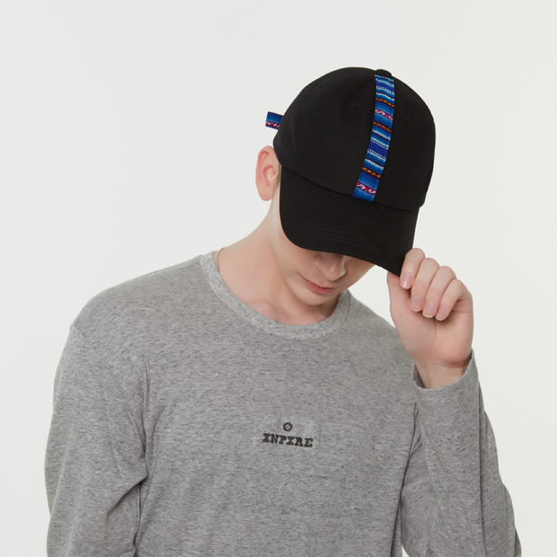 [Daily Cap] Inca Fabric_Stripe Cap_Black/Blue - Inpire Co.