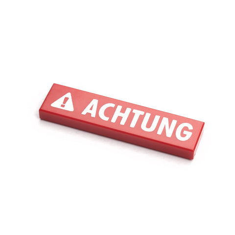 Red minifigure sign tile - achtung