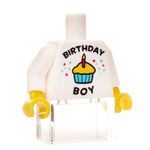Custom birthday boy white t-shirt minifigure torso