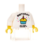 Custom birthday girl white t-shirt minifigure torso