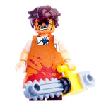 Pad printed figure with bloody leather apron and chainsaw accessory front