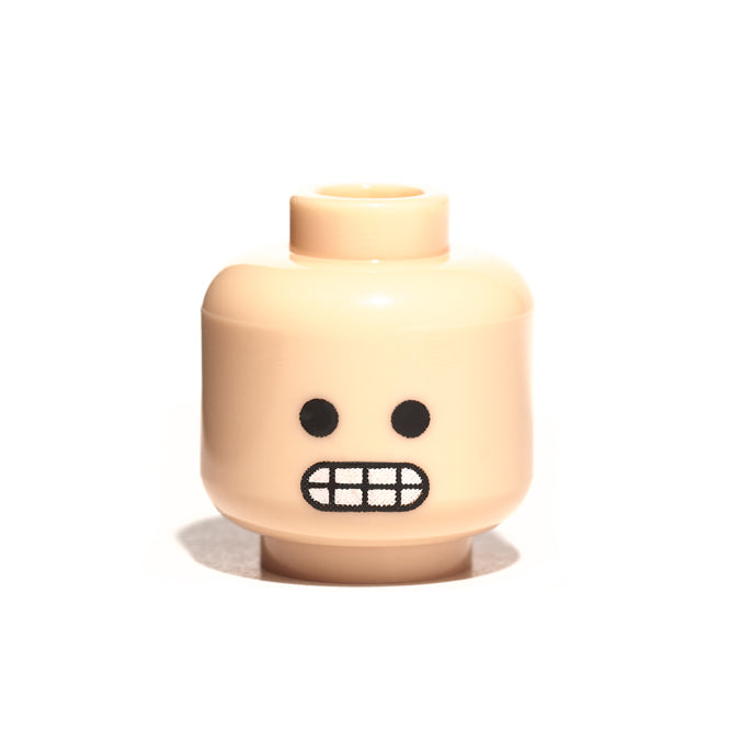 Custom minifig with awkward smile - light flesh