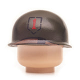 Brown minifig WW2 military helmet accessory with insignia