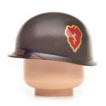 Brown minifig WW2 military helmet accessory with red lightning bolt insignia