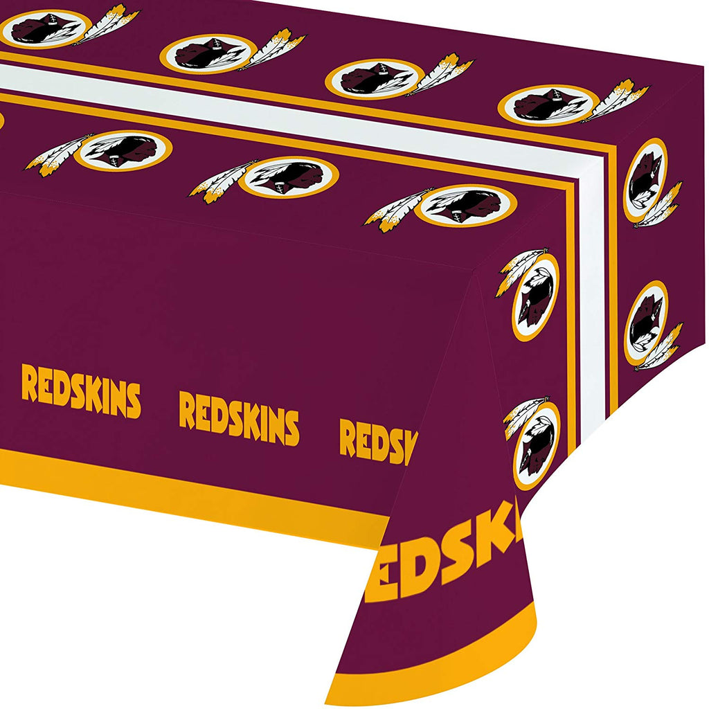 Creative Converting Officially Licensed NFL Plastic Table Cover, 54x102, Washington Redskins