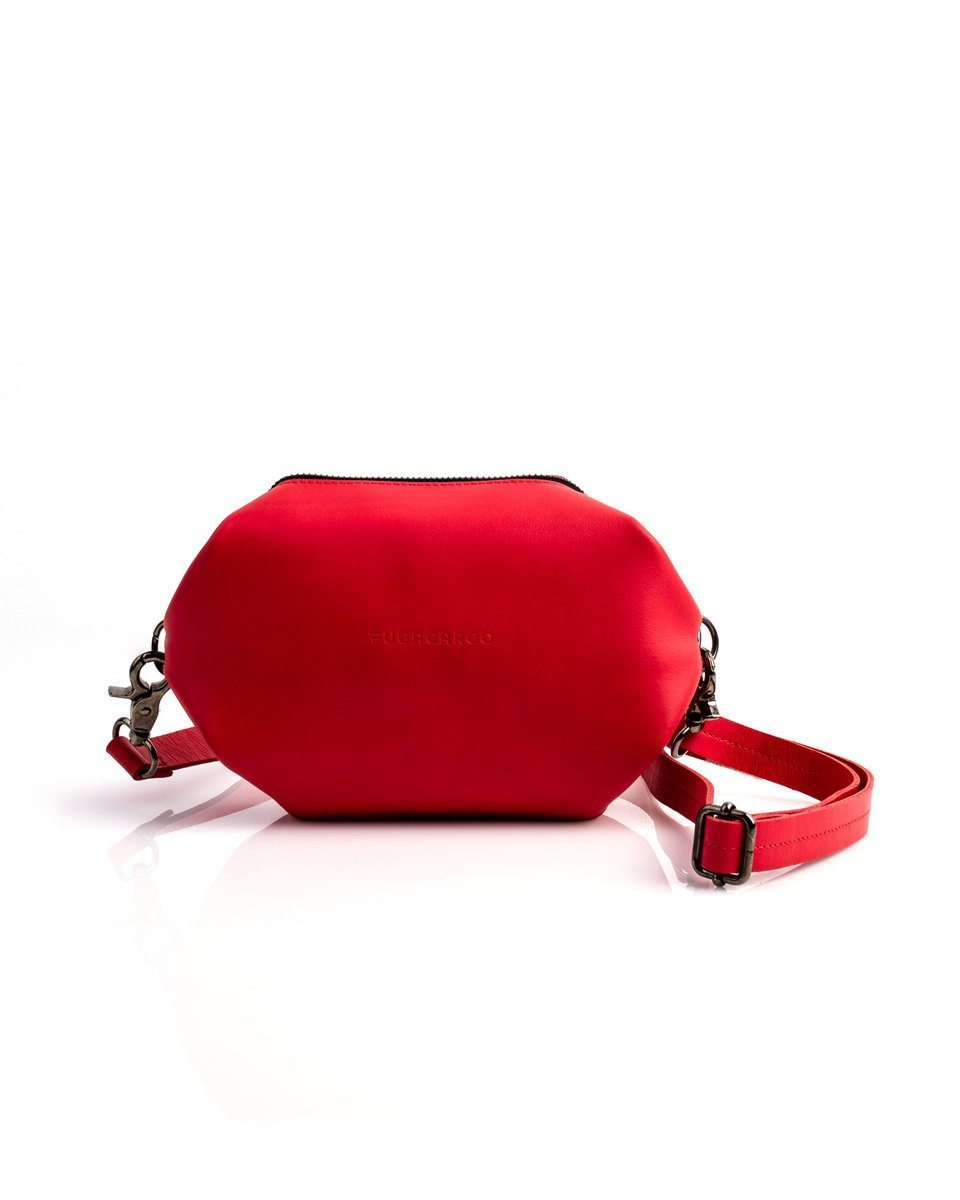 Bumbag red - Convertible smooth leather bum bag, shoulder bag or hand bag - Front view