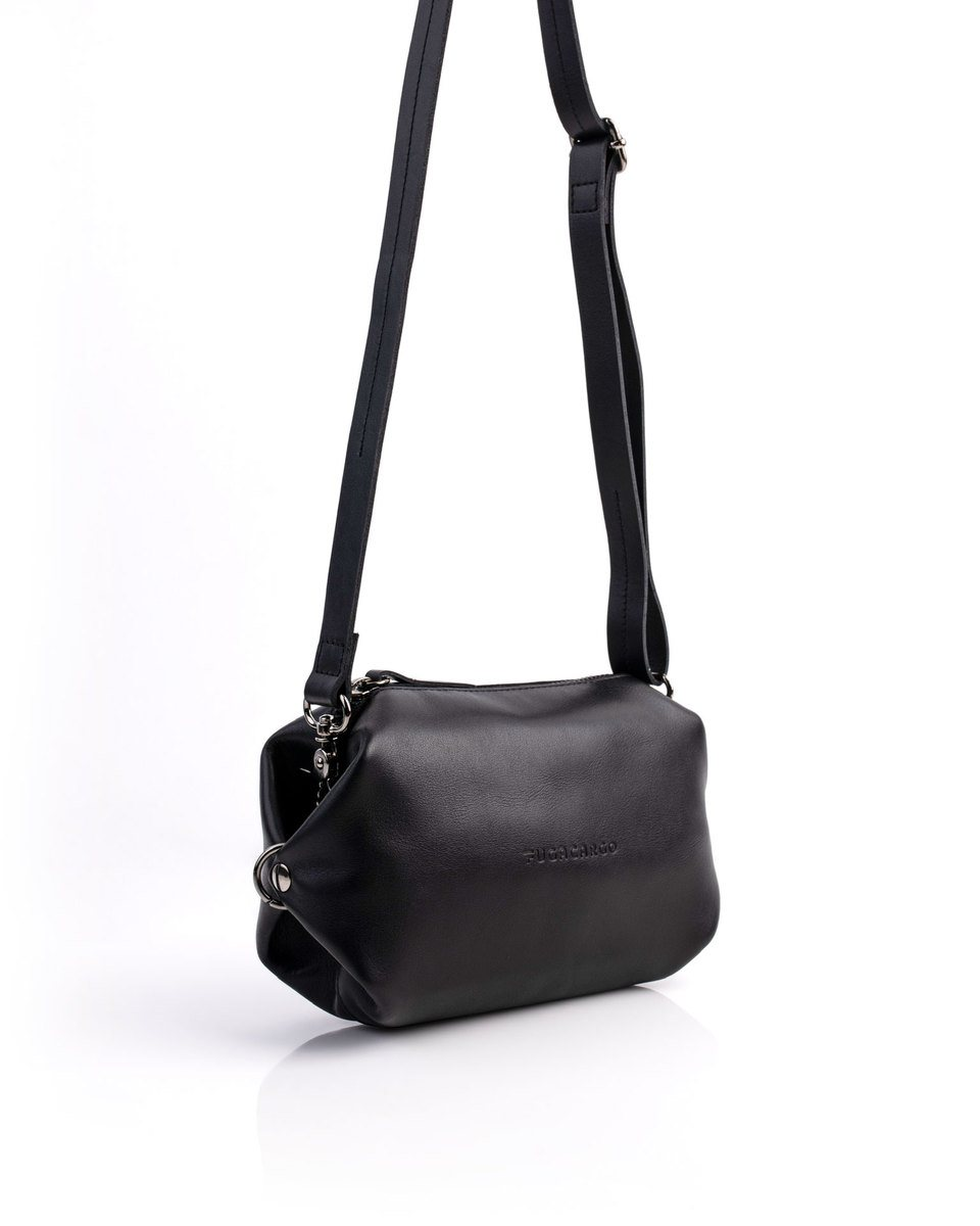 Bumbag black - Convertible smooth leather bum bag, shoulder bag or hand bag - With the strap extended